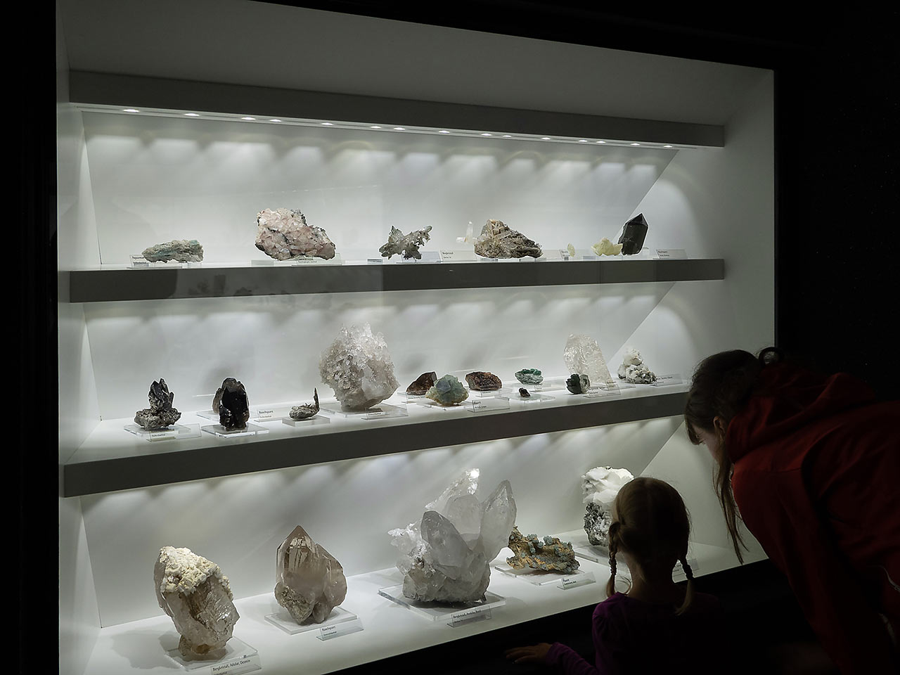 Mineral display with alpine minerals in the Bramberg museum