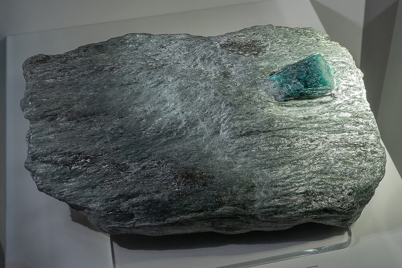 Huge emerald crystal in schist matrix from the Habachtal, Austria