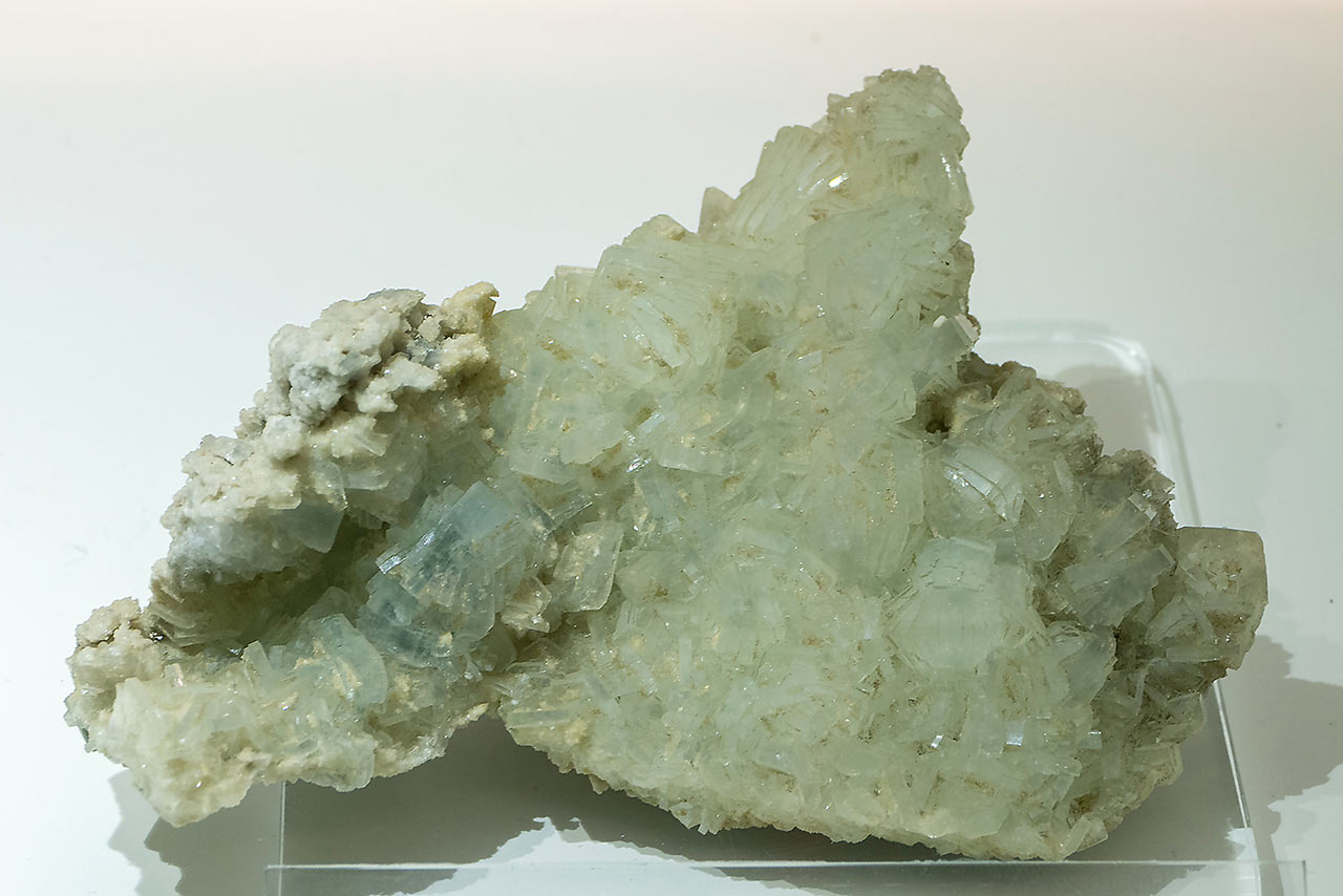 Nice pale green prehnite cluster from the Prehnitinsel, Habachtal, Austria