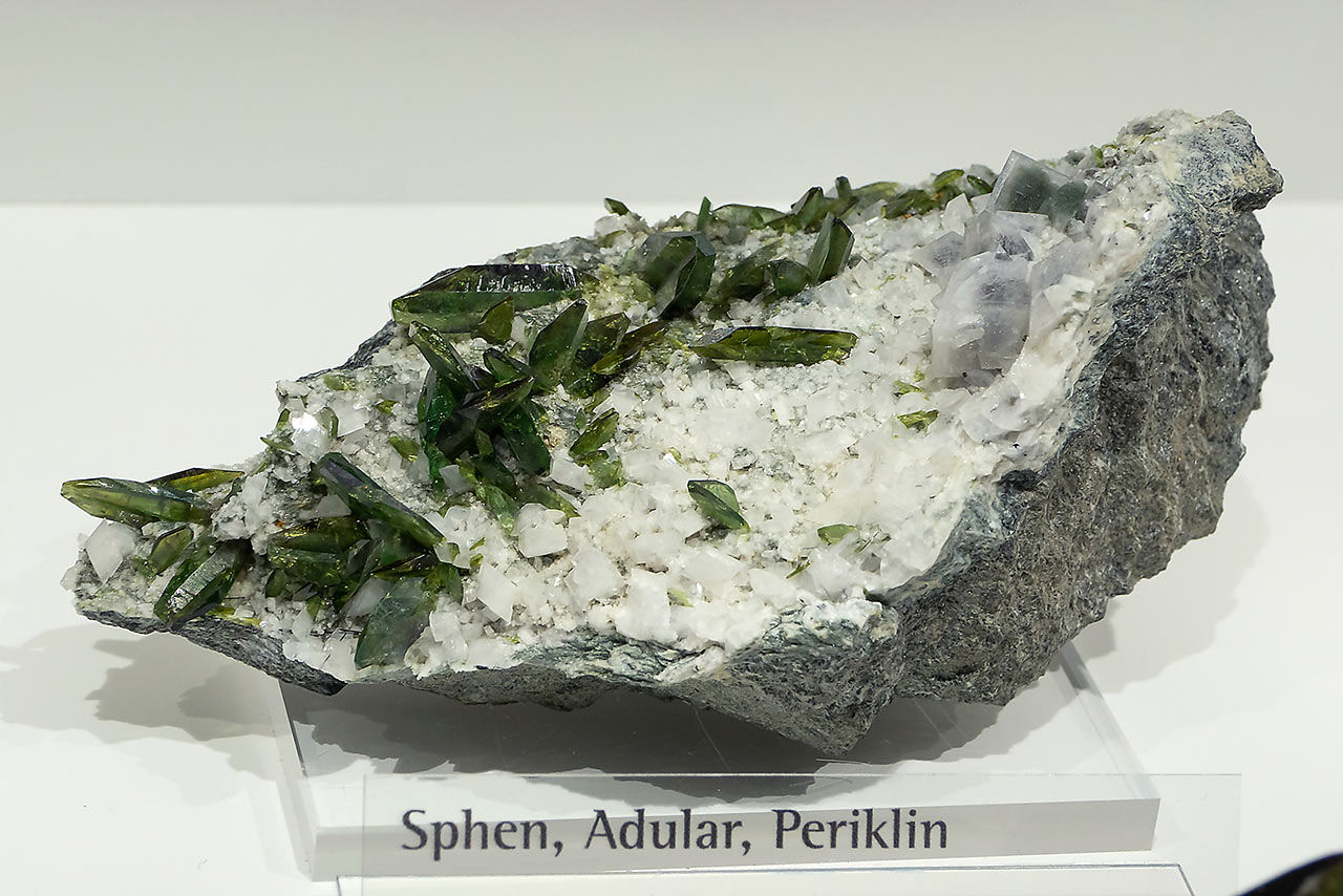 Mineral specimen with pericline, adularia and bright green titanite from Hollersbachtal, Hohe Tauern, Austria