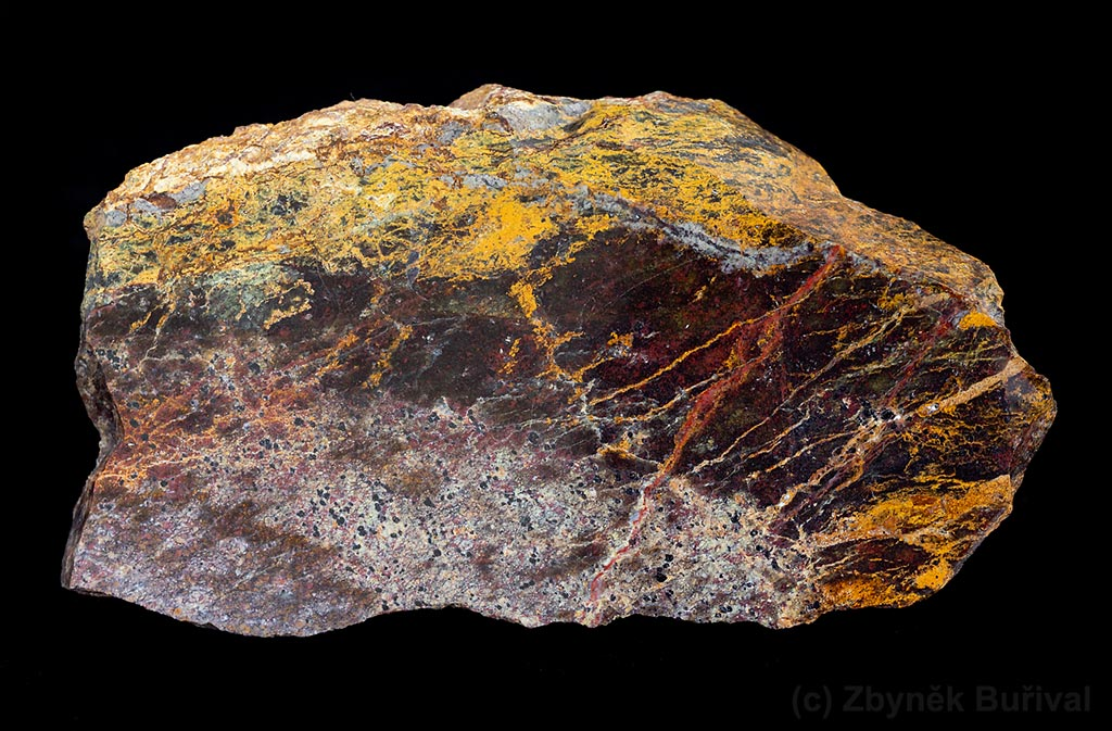 Opal with yellow veins and brow-red matrix with chromite