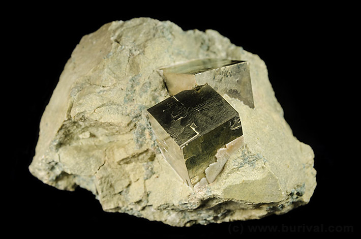 Pyrite crystals on matrix from Navajun, Spain
