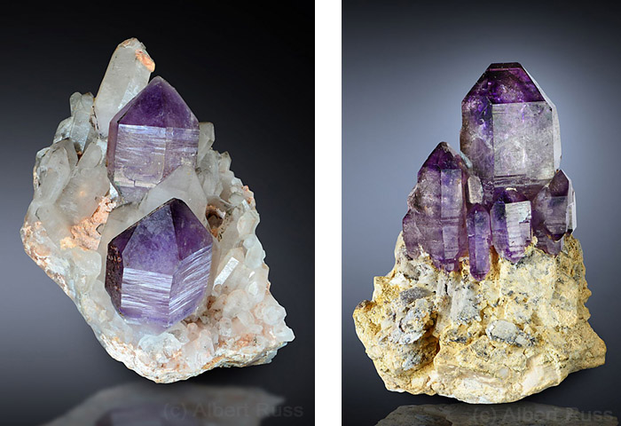 Purple amethyst scepter crystals on milky quartz from Namibia