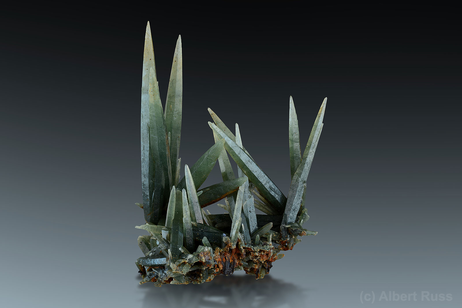 Prasem (green quartz) crystals from Serifos, Greece