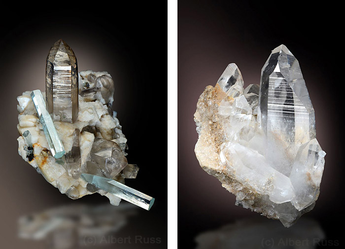 Aesthetic cluster of smoky quartz crystals with feldspars and aquamarine from Pakistan