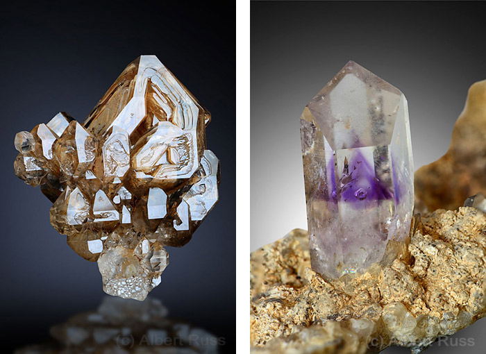 Sketeletal and scepter quartz crystal with clay inclusions from Goboboseb in Namibia