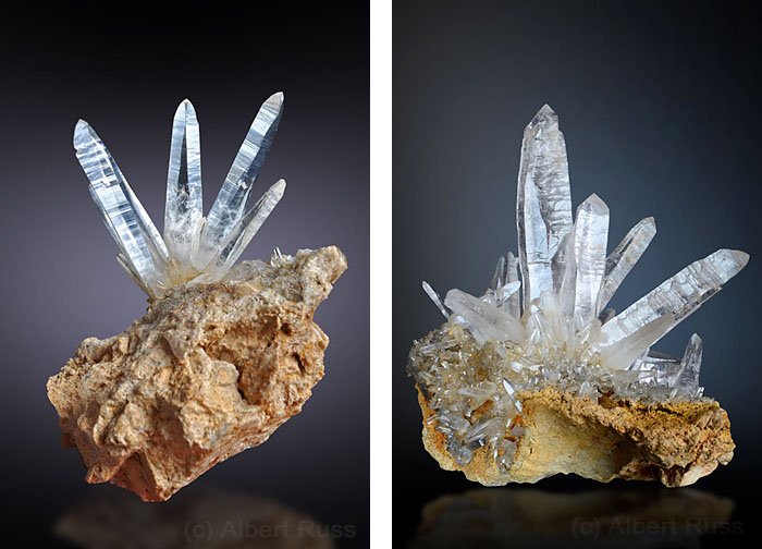 Group of thin long clear quartz crystals from Sobov in Slovakia