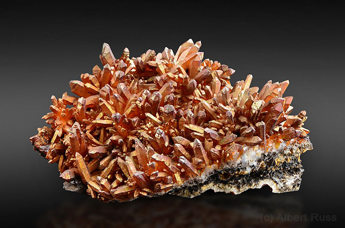 Rare cluster of quartz crystals covered by irridescent goethite from Banska Stiavnica in Slovakia