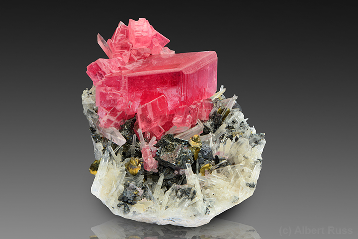 Pink rhodochrosite crystals from Sweet Home Mine in Alma, Colorado