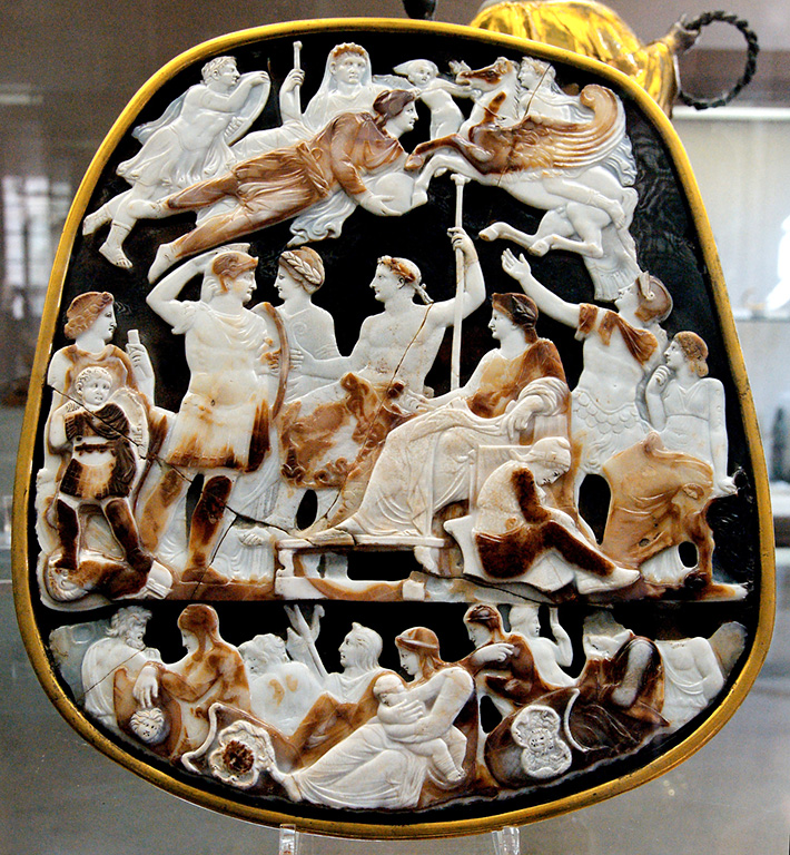 The Great Cameo of France made of five-layered sardonyx by ancient Romans