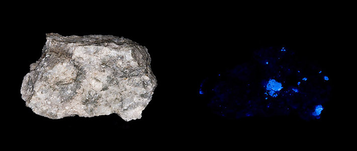Example of UV fluorescence of scheelite, left in daylight, right in shortvawe UV light