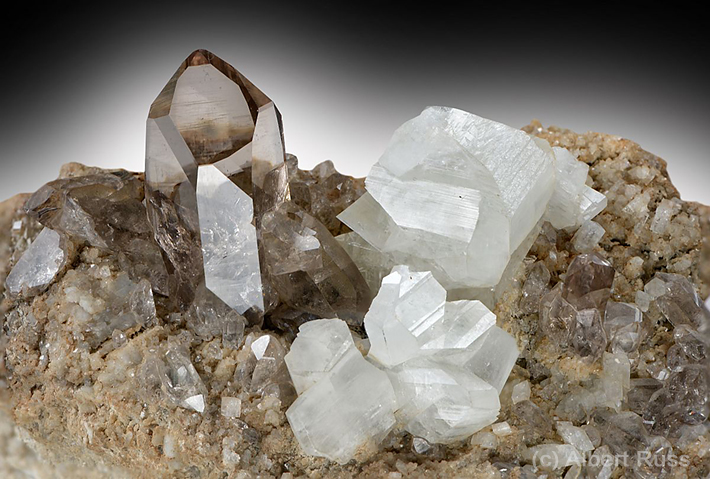 Cluster of gemmy smoky quartz and adularia feldspar from alpine cleft in Uri, Switzerland