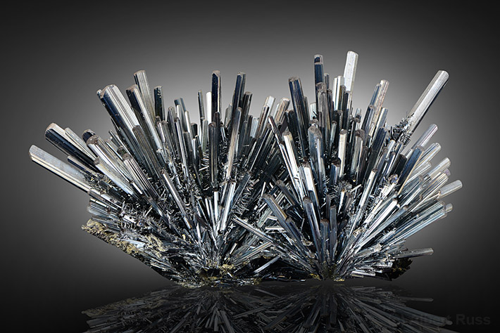 Cluster of stibnite crystals from Romania
