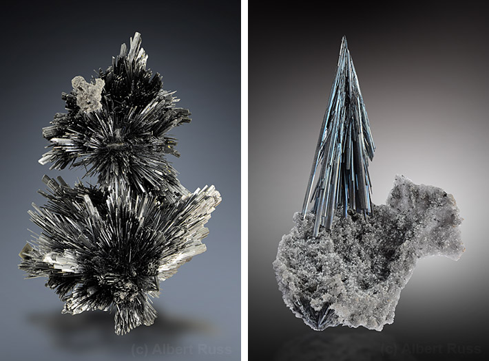 Stibnite crystal clusters from Romania