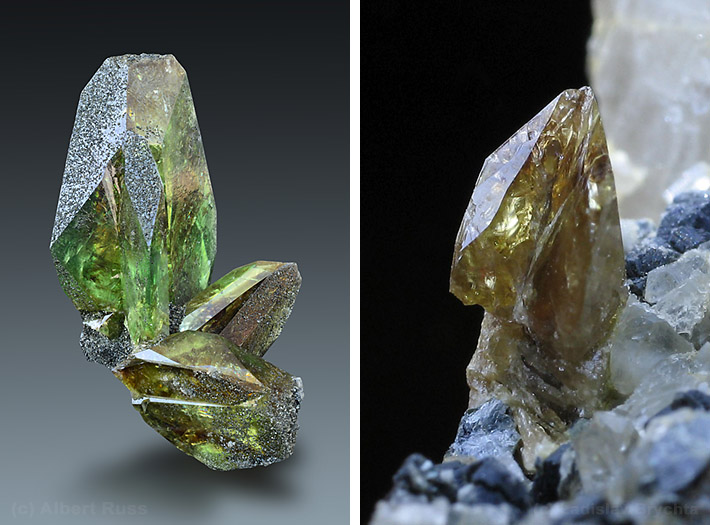 Green titanite crystals from Alpine type veins in Austria and Czech Republic