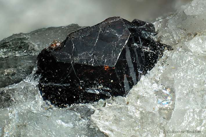 Brown envelope shaped titanite crystal from Mirosov, Czech Republic