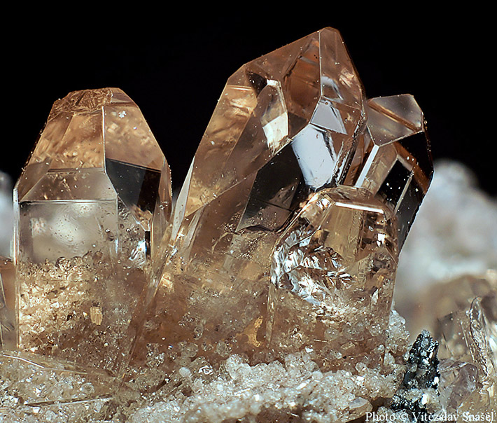 Macrophoto of the honey colored topaz crystal from Thomas Range in Utah, USA