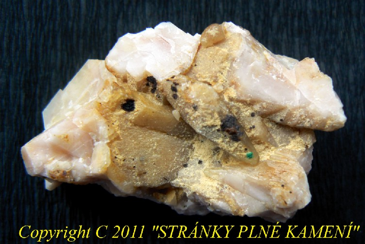 Calcite, Baryte, Limonite, Malachite
