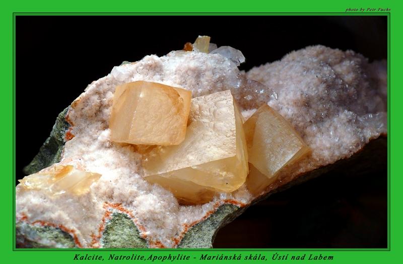 Calcite, Natrolite