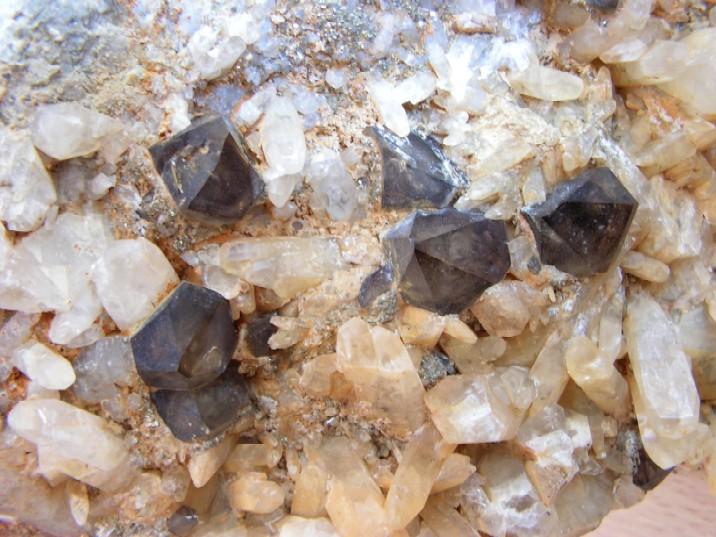Quartz (var. Smoky), Calcite, Pyrite