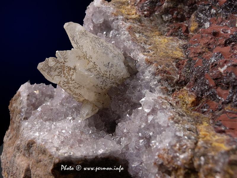 Calcite, Quartz (var. Amethyst)