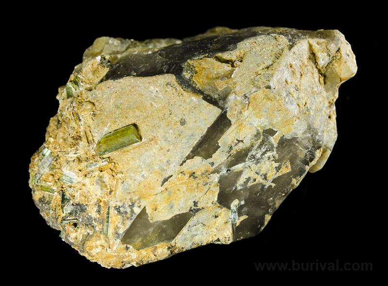 Elbaite (var. Verdelite), Quartz (var. Smoky)
